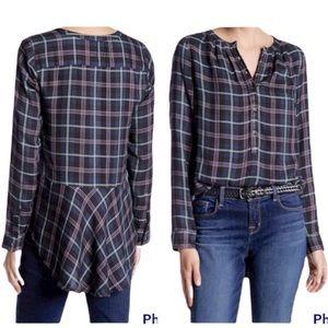 Lucky Brand Girlfriend Plaid Flannel Ruffle Peplum Shirt Large